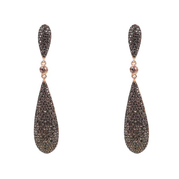 Coco Long Drop Earrings Chocolate CZ