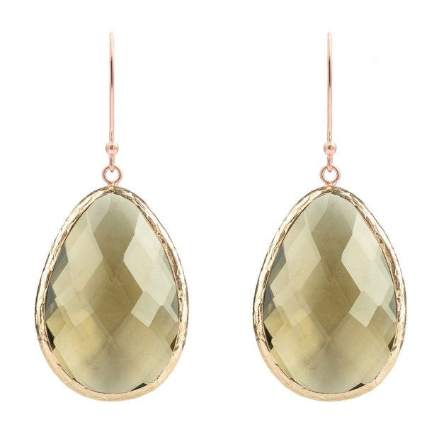 Rosegold Single Drop Earring Smokey Quartz - LÁTELITA - 1