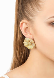Flower Clover Double Drop Earring Gold - LATELITA