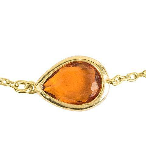 Pisa Mini Teardrop Bracelet Gold Citrine - LATELITA