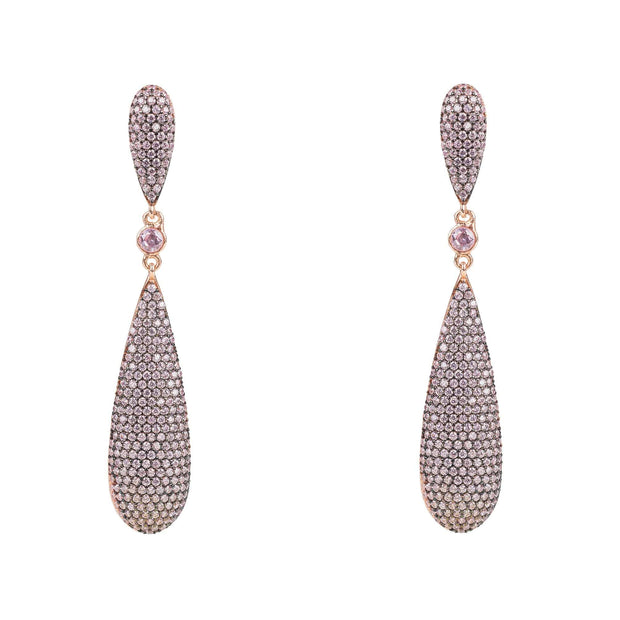 Coco Long Drop Earrings Light Pink