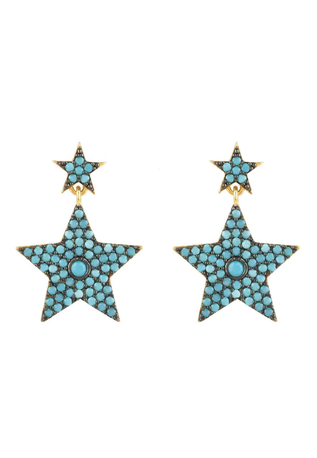 Star Double Drop Earring Turquoise - LATELITA