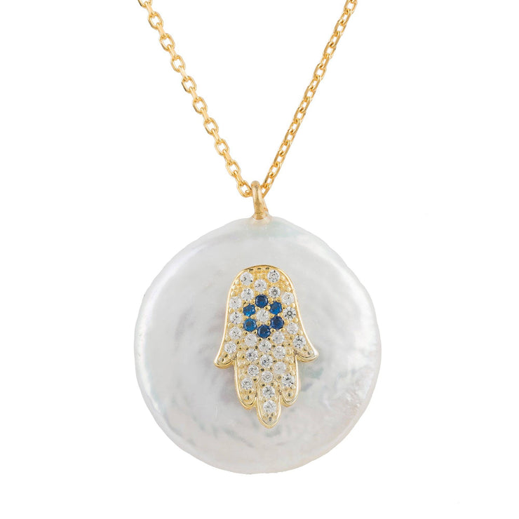 Hamsa Pearl Pendant Necklace Gold - LATELITA
