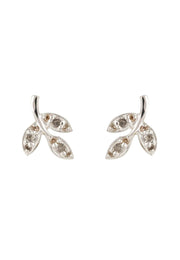 Leaf Stud Earring Diamond Gemstone Silver