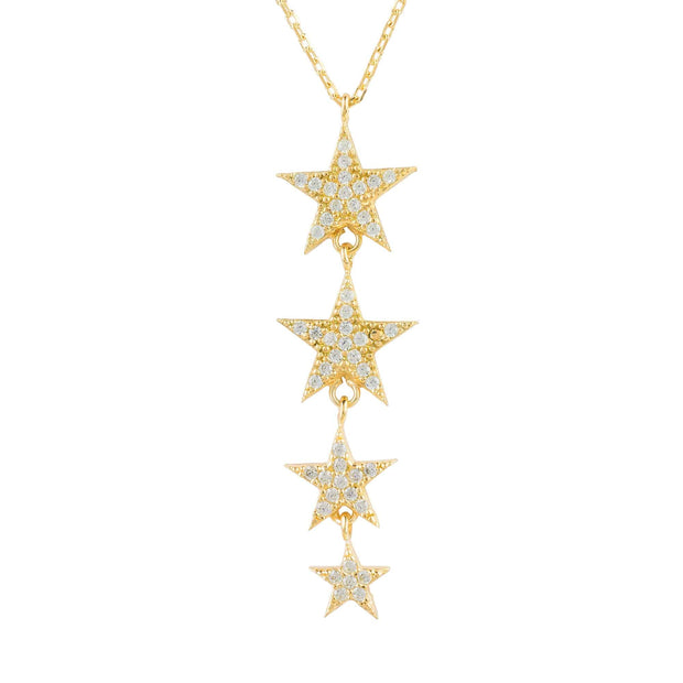 Graduated Star Drop Necklace Gold