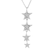Graduated Star Drop Necklace Sterling Silver