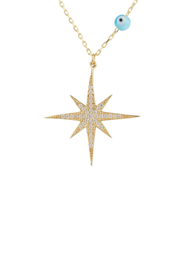Starburst Opalite Evil Eye Necklace Gold - LATELITA