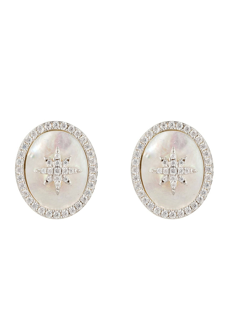 Starburst Oval Stud Earring White Mother Of Pearl Silver - LATELITA