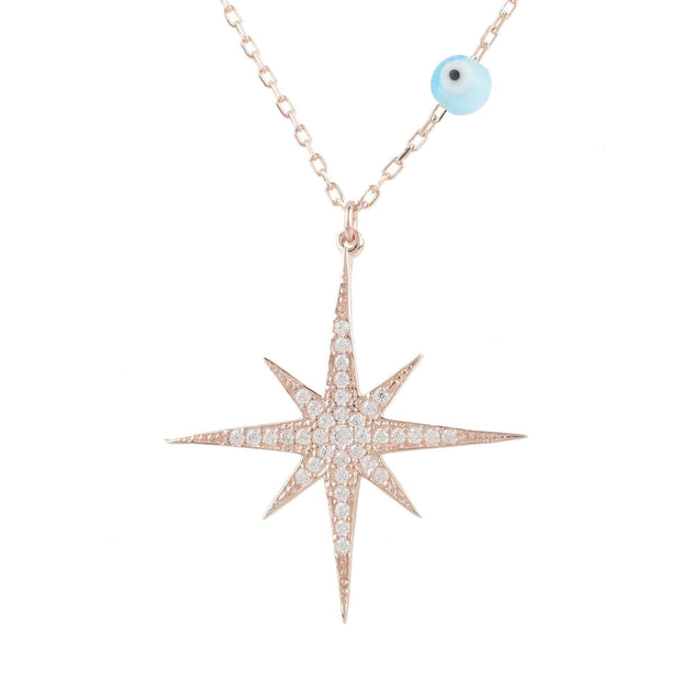 Starburst Opalite Evil Eye Necklace Rosegold - LATELITA