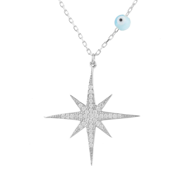 Starburst Opalite Evil Eye Necklace Sterling Silver - LATELITA