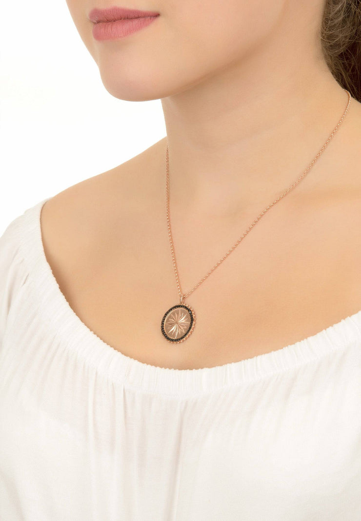 Reversible Moral Compass Star Burst Pendant Necklace Rosegold - LATELITA
