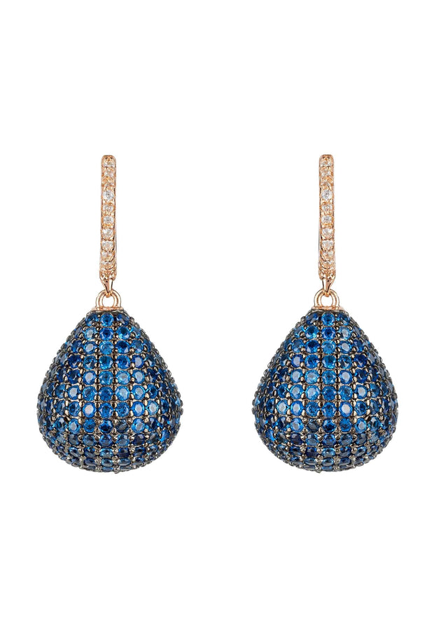 Valerie Pear Drop Gemstone Earring Rosegold Sapphire Blue - LATELITA