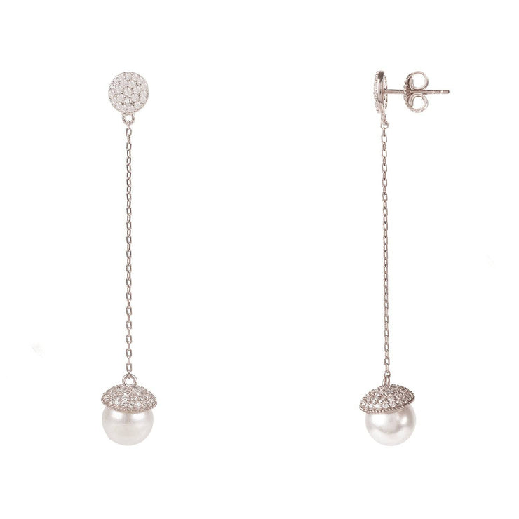 Pearl Long Drop Earrings Silver - LATELITA
