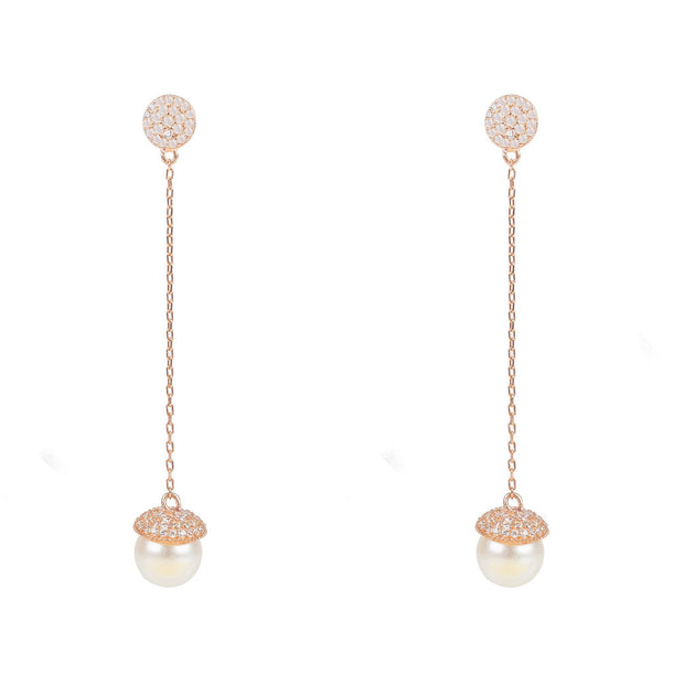 Pearl Long Drop Earrings Rosegold