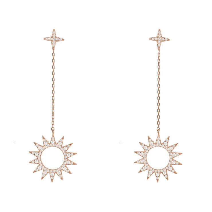 Sun Day and Night Drop Earrings Rosegold - LATELITA
