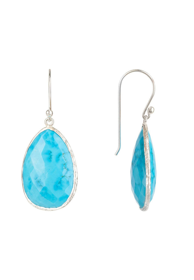 Single Drop Earring Turquoise Silver - LATELITA