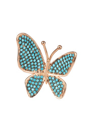Butterfly Cocktail Ring Blue Turquoise Rosegold - LATELITA