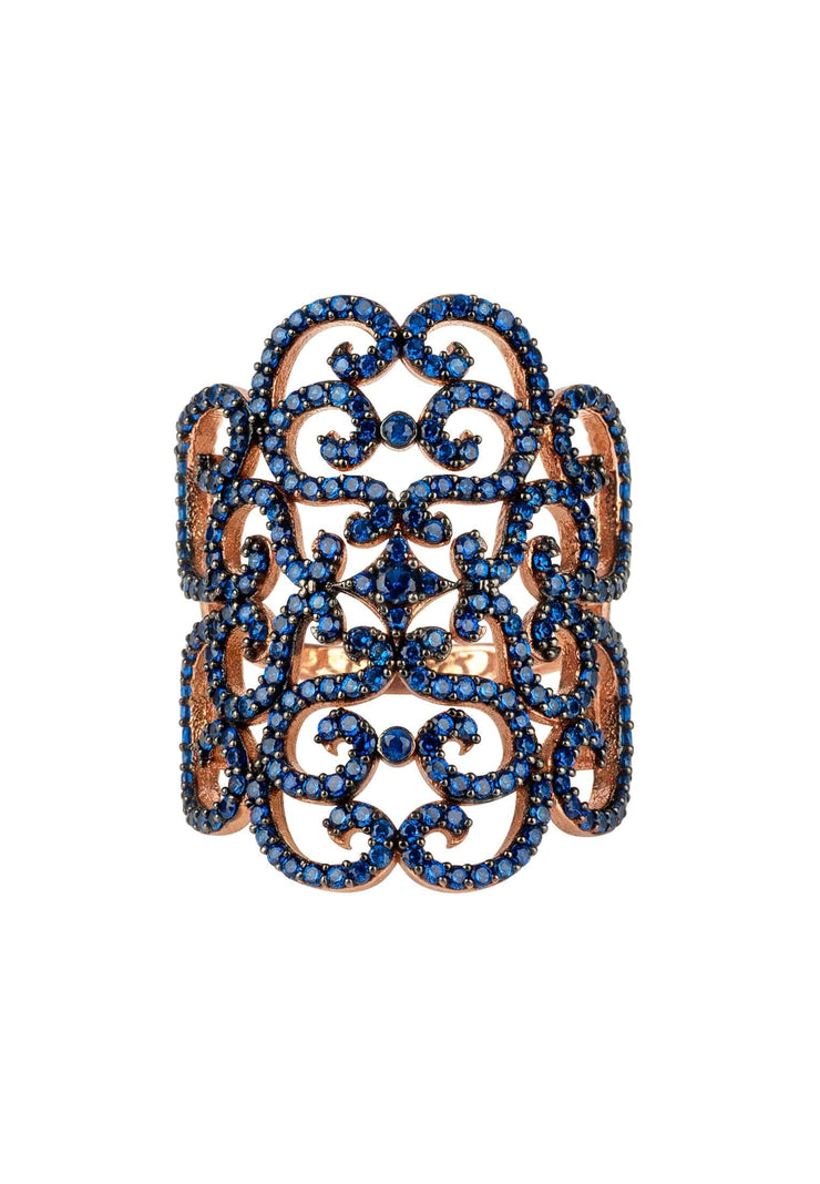 Countess Filigree Cocktail Ring Sapphire Blue Rosegold - LATELITA