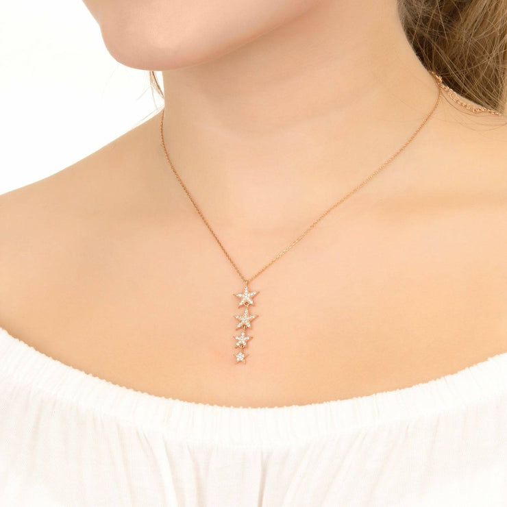 Graduated Star Drop Necklace Sterling Silver - LATELITA