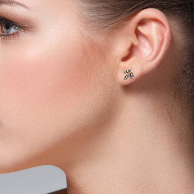 Diamond Leaf Stud Earring - LATELITA