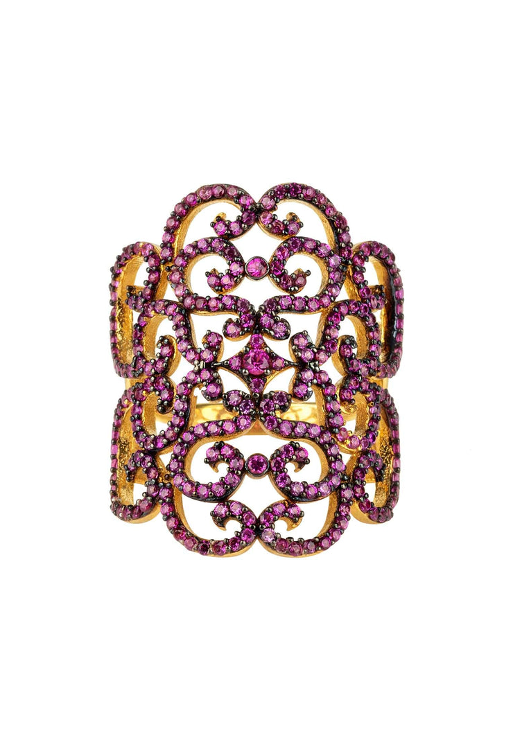 Countess Filigree Cocktail Ring Ruby Pink Gold - LATELITA