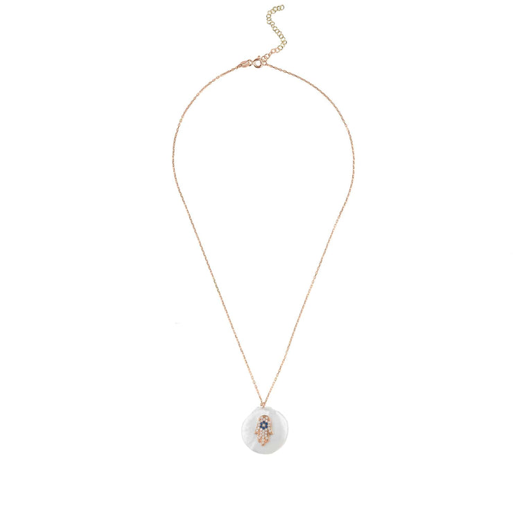 Hamsa Pearl Pendant Necklace Rosegold - LATELITA