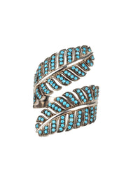 Tropical Leaf Cocktail Ring Blue Turquoise Silver - LATELITA