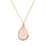 Pisa Mini Teardrop Necklace Gold Rose Quartz