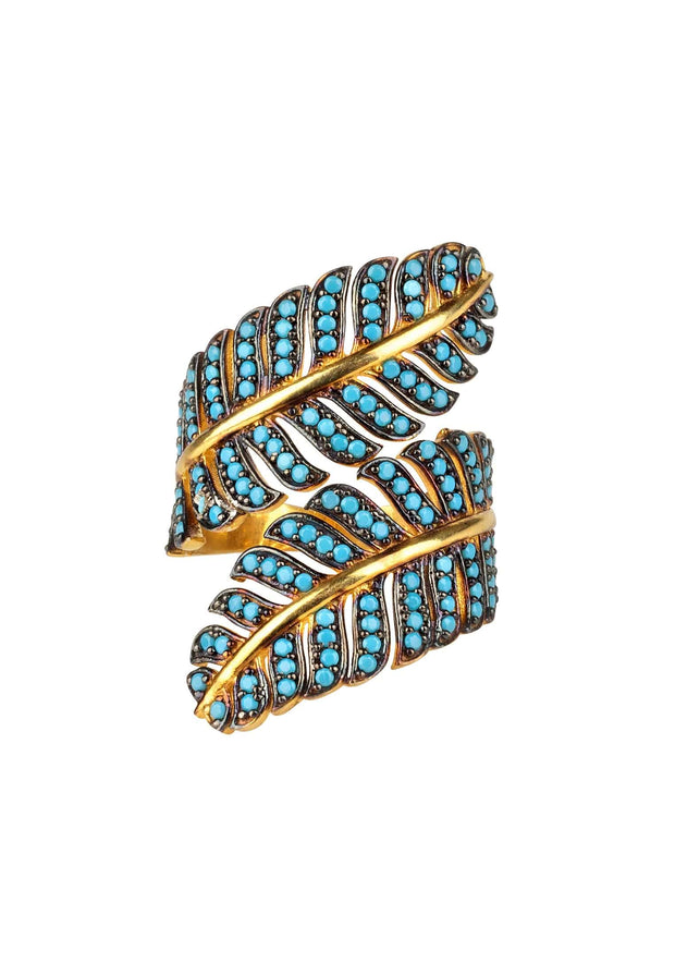 Tropical Leaf Cocktail Ring Blue Turquoise Gold - LATELITA