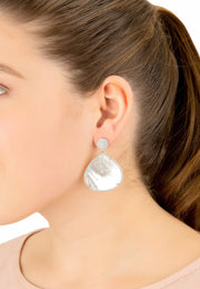 Hamsa White Mother Of Pearl Teardrop Earring - LATELITA