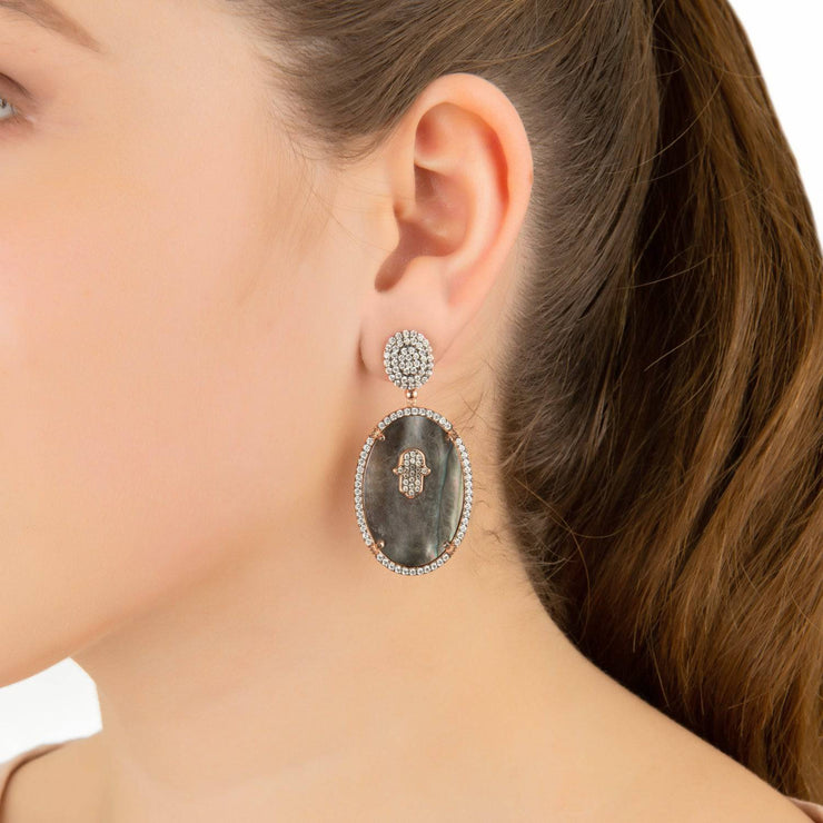 Hamsa Grey Mother Of Pearl Oval Earring - LATELITA