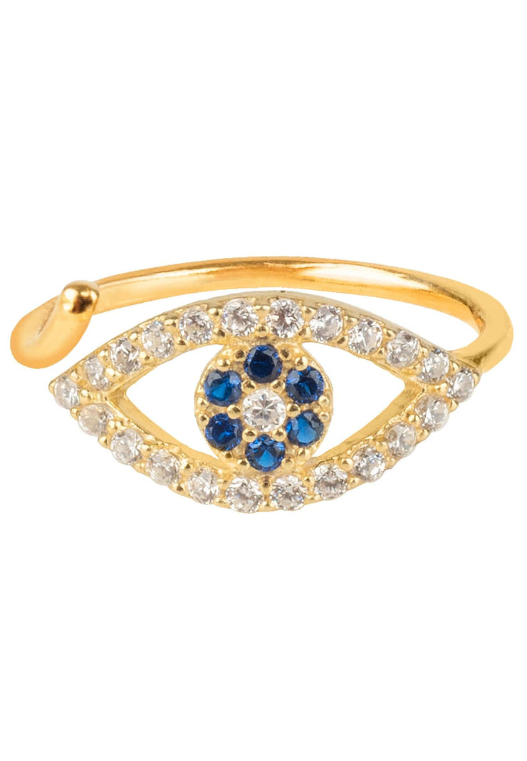 Evil Eye Midi Pinky Ring Gold - LATELITA