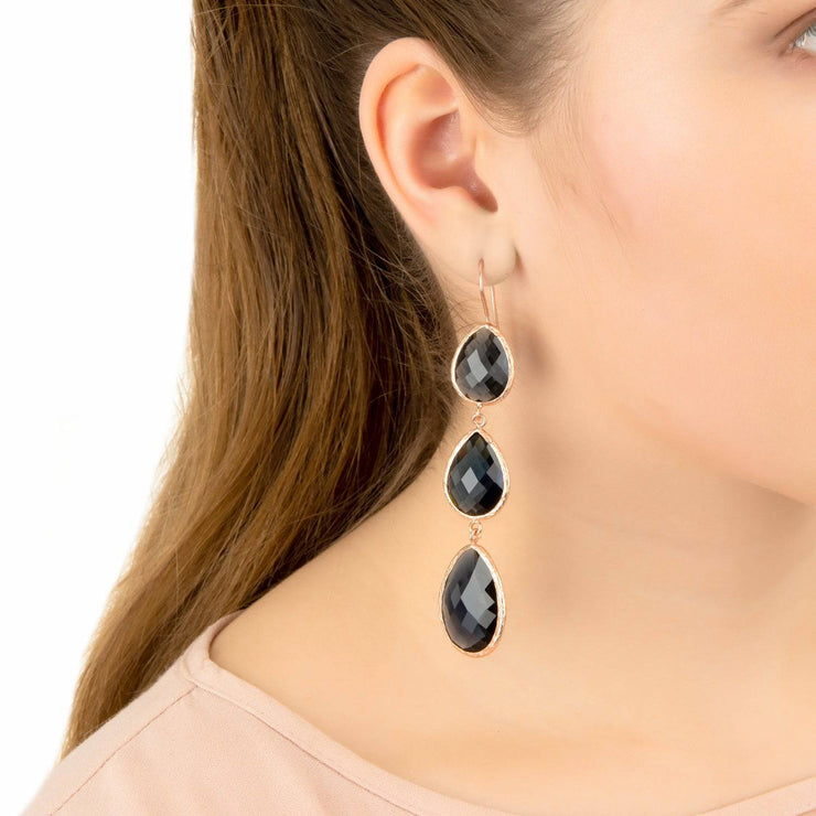 Triple Drop Earring Dark Blue Chalcedony Gold - LATELITA