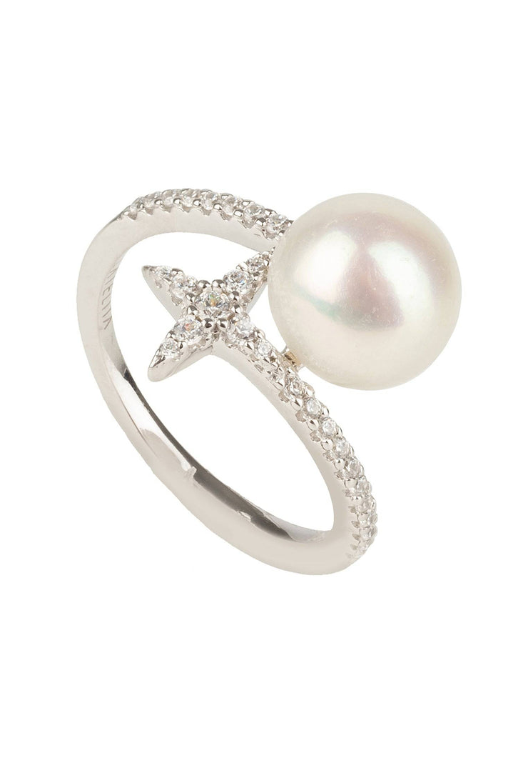 Ellie Star Pearl Ring White Silver - LATELITA