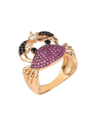 Crab Cocktail Ring Ruby Pink Rosegold - LATELITA