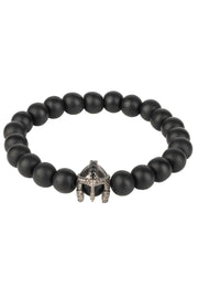 Roman Spartan Warrior Gemstone Bracelet Black Oxidised - LATELITA