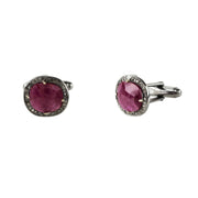 Ruby Cufflink Oxidised Silver Champagne Diamonds - LÁTELITA - 2