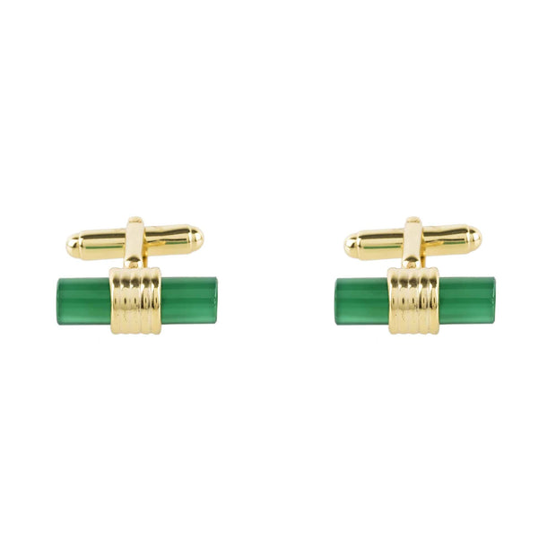 Cylindrical Cufflink Gold Green Onyx - LATELITA