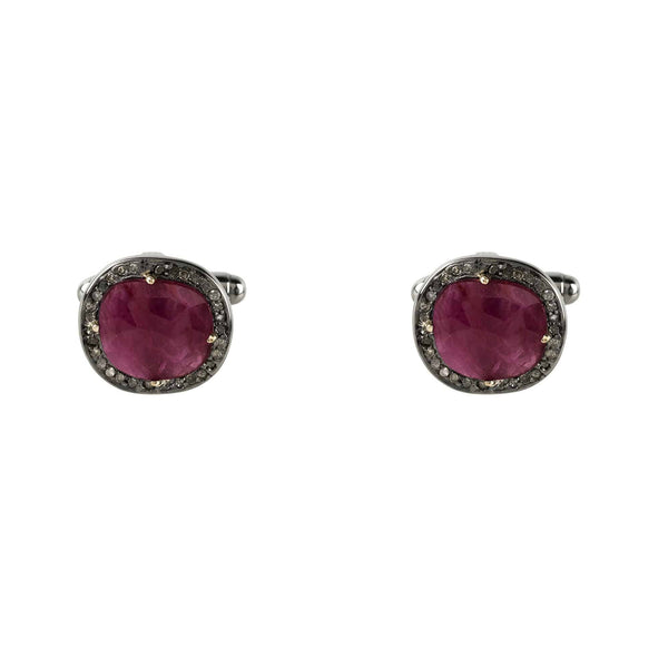 Ruby Cufflink Oxidised Silver Champagne Diamonds - LÁTELITA - 1