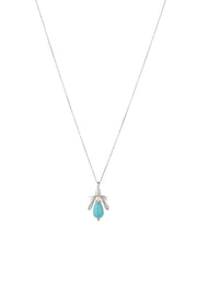Turquoise & Pearl Honey Bee Necklace Silver - LATELITA