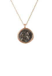 Roman Coin Oxidised Pendant Necklace Rose Gold - LATELITA