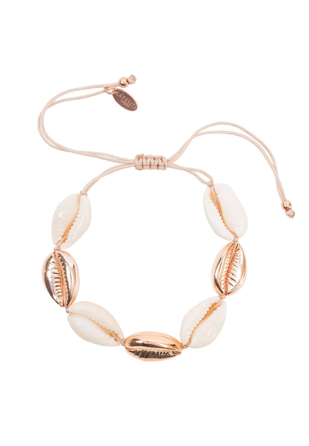 Cowrie Multi Shell Macrame Bracelet Rose Gold - LATELITA