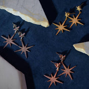Large Star burst Drop Earring Gold - LATELITA