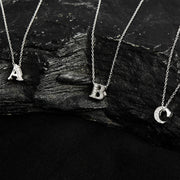 Diamond Initial Letter Pendant Necklace Silver I - LATELITA
