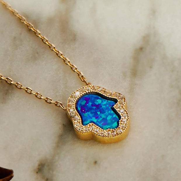 Hamsa Opalite Turquoise Blue Necklace Gold - LATELITA
