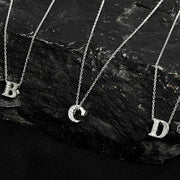 Diamond Initial Letter Pendant Necklace Rose Gold D - LATELITA