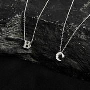 Diamond Initial Letter Pendant Necklace Rose Gold C - LATELITA