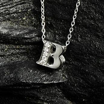 Diamond Initial Letter Pendant Necklace Rose Gold B - LATELITA