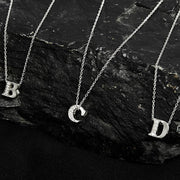 Diamond Initial Letter Pendant Necklace Silver D - LATELITA