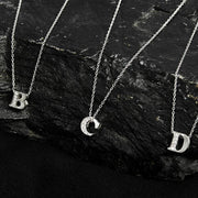 Diamond Initial Letter Pendant Necklace Silver M - LATELITA